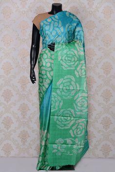 Sky #blue & sea foam green elegant printed #tussar #saree-SR18592- #PURE TUSSAR SILK SAREE