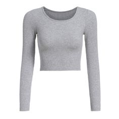 Long Sleeve Crop Grey T-shirt ($9.79) ❤ liked on Polyvore featuring tops, t-shirts, shirts, gray t shirt, grey t shirt, grey long sleeve shirt, gray shirt and long sleeve tees
