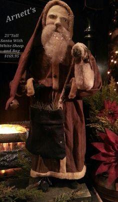 Arnett's Primitive Santa With White Sheep