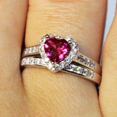 Ruby Heart Promise Ring – Red Cubic Zirconia: $99