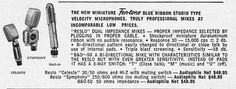 1953 ad for the Fen-Tone Blue Ribbon,Reslo and B&O microphones in Reel2ReelTexas.com vintage reel to reel tape recorder collection