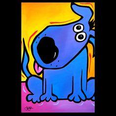Perro azul pintura pop arte moderno contemporáneo por fidostudio