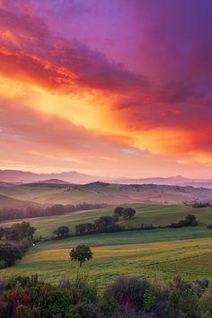 Sunrise in Tuscany.