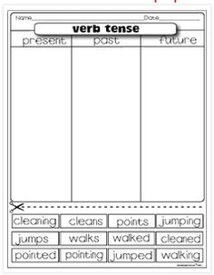 Classroom Freebies: Verb Tense