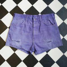 Vtg 90's LEVI'S denim shorts vintage purple shorts 90's grunge W36 L... ($19) ❤ liked on Polyvore featuring shorts, purple shorts, distressed denim shorts, short jean shorts, denim shorts and destroyed jean shorts
