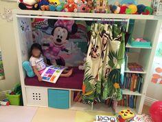 Children's reading nook from TV furniture - IKEA Hackers - New Ideas Diy Kids Furniture, Tv Furniture, Tv Storage Unit, Book Storage, Lp Storage, Record Storage, Ikea Lappland, Ikea Tv Unit, Reading Nook Kids
