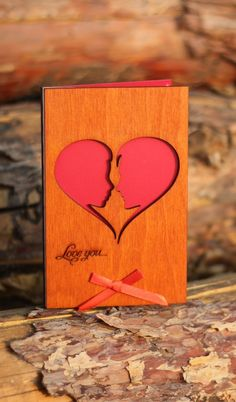 I Love You Card, Wooden Cards, Love Cards For Him, Romantic Card, Love Cards For Her, Valentines Day Card, Anniversary Cards, Love Gift