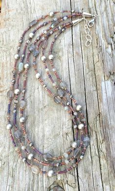 Multi Strand Necklace with Labradorite, Silver, and Czech Glass