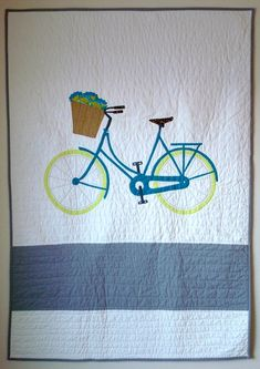 "Love My Bike quilt, 40 x 56"",  by Carrie Payne at Believe Magic.  Modern Quilt Guild Showcase."