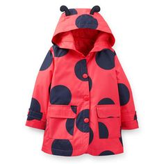 I'm dying of cute overload, it has little antennae! A super cute ladybug polka dot print makes raincoat extra adorable. Puddle jumping is more fun in this girls raincoat that's lined with jersey to keep her extra warm. Baby Raincoat, Green Raincoat, Girls Rain Jackets, Baby Girl Jackets, Cute Outfits For Kids, Toddler Outfits, Cute Raincoats, North Face Rain Jacket, Princesses