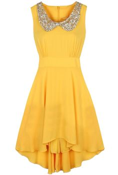 Yellow Sleeveless Sequined High Low Waist Dress