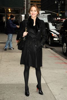 Jennifer Lawrence stops by the 'Late Show with David Letterman' in NYC after her Golden Globes win. The 'Silver Linings Playbook' star, who picked up a Golden Globe for Best Actress for her performance, showed off a dark look in a black outfit as she stopped to smile for the cameras on her way into the studios.