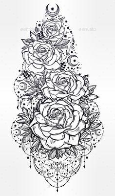Flower Decorative Rose Artwork - Decorative Symbols Decorative