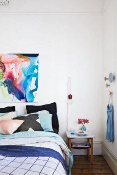 colourful artwork bedroom modern