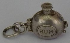 Vintage Silver Rum Bottle Charm, Opens To Elephant