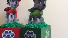 *******UPDATE: September Styrofoam cutter, no longer for sale Paw Patrol themed centerpieces. Cumple Paw Patrol, Centerpieces, Christmas Ornaments, Holiday Decor, Christmas Jewelry, Center Pieces, Christmas Decorations, Table Centerpieces, Christmas Decor