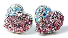 "Amazon.com: Adorable Pink and AB Crystal Embellished Mini Heart Stud 3/8"" Stud Earrings: Jewelry"