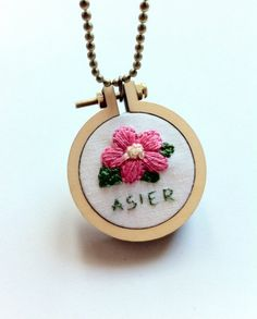 Floral mini embroidery hoop pendant  personalized by Gluckhandmade