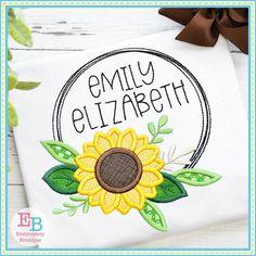 Sunflower Circle Frame Satin Stitch Applique Design