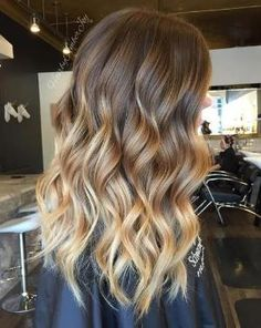 Brown Hair with Caramel Blonde Balayage Highlights - Ombre Balayage Hairstyle, Wavy Long Hair by rena