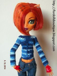 Handmade clothes for Monster High dolls: sweater (doll not included)