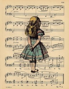 Vintage Alice Portrait Print on an Antique 1889 Music Sheet Book Page by dee