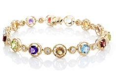 "Diamond & Semi-Precious Gemstones Bracelet, 7.5"" - Isaac Westman"