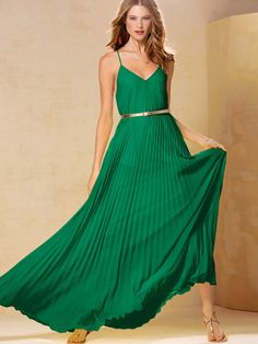 Knife-pleat Maxi green dress