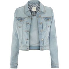 Bleach Wash Denim Jacket (€28) ❤ liked on Polyvore featuring outerwear, jackets, casacos, tops, coats, bleached denim jacket and blue jackets