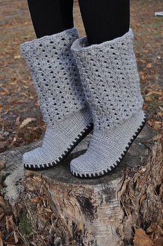 Crochet Boots Grey Summer Laced Boots Outdoor Boots by JoyForToes