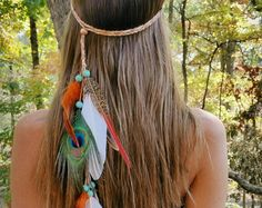 Turquoise Princess Feather headband native american by WildandFreePeople | Etsy