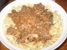 Beef Stroganoff is usually made wirh sour cream, this is a good version with it omitted.