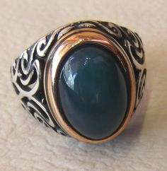 smoky green jade agate semi precious natural stone men ring sterling silver 925 jewelry middle eastern style bronze
