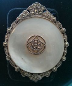 Sterling Silver 925 Marcasite Mother of Pearl Brooch Pin Pendant Vintage | eBay/$165