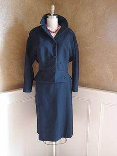Vintage 50s Navy Blue Princess Seamed Wool Dress Suit