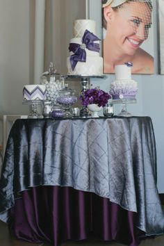 plum and charcoal cake table