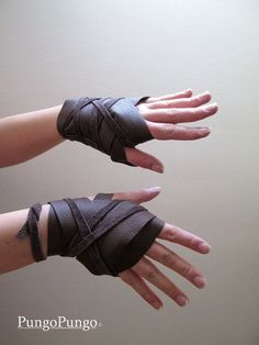 Wrap-a-round 1/2 leather gloves