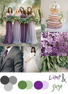 Lilac and Sage wedding color palette