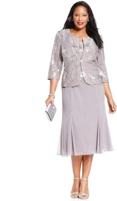 $114 T16p Alex Evenings Plus Size Sequin Chiffon Dress and Jacket in Purple (Pewter):