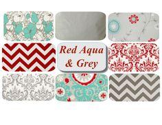 Mix & Match Throw Pillow Covers - Set of Two, Red Aqua Grey Pillows, 16 x 16, Modern Chevron Damask Geometric Pillows, Cushion Covers