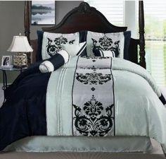 Amazon.com: Luxury 7 Piece , Scroll Design Seafoam Green - Black - Silver Comforter Set, .QUEEN SIZE..: Home & Kitchen