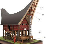 Toraja House Papercraft (Tongkonan)