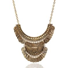 Golden Mixed Shape Geo Bib Coin Necklace ($16) ❤ liked on Polyvore featuring jewelry, necklaces, coin jewelry, coin bib necklace, bib necklace, bib jewelry and geometric necklace