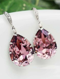 Pink Swarovski Crystal Tear drop dangle earrings wedding jewelry