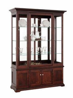 Wood Curio Cabinets with Lights available at DutchCrafters. The Deluxe Side Light Curio Cabinet has glass shelves, interior lighting and cabinet storage. Shop N Hudson Furniture, Hickory Furniture, Amish Furniture, Home Furniture, Deco Furniture, Wood Bed Design, Shelf Design, Crockery Cabinet, House Construction Plan