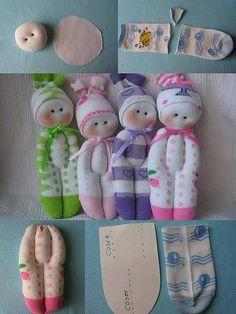 Boneca feita das meias mais gostosas que a criança usou. Ótima recordação