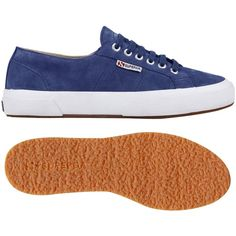 Superga 2750 Sueu Trainer Plimsolls , Blue Nautical ($73) ❤ liked on Polyvore featuring shoes, sneakers, blue nautical, blue leather shoes, blue leather sneakers, canvas lace up sneakers, superga shoes and low sneakers