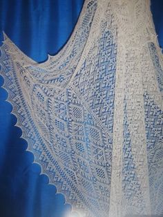 This could be a wedding ring shawl ie one that is so fine you can pull the completed piece through a wedding ring. Lace display at the Bod of Grimister, home of the Shetland Spinners and Weavers Guild.: