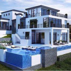 Überlauf Pool Mit Wasserrutsche Exotik Pur Im Hinterhof | HOME | Pinterest  | Villas, House And House Goals