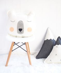 Image of Mr Sleepy Bear wool felt cushion